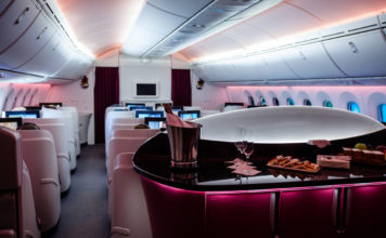 Business class cabin view